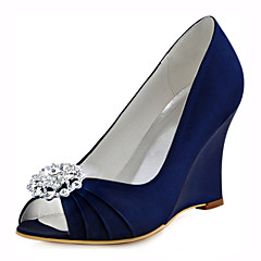 Women's Shoes Stretch Satin Spring /  Fall Wedges Heels Wedding /  Dress Wedge Heel CrystalBlue / Pink / Royal