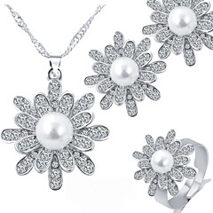 Snow Pearl Shiny Silver Rhinestone Pendant Necklace + Adjustable Ring +Bridal Accessories Earrings Jewelry Sets