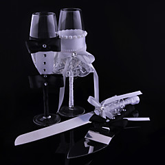 Bride And Groom Fabrics Cups Knife And Fork Combination