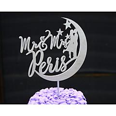 Kakkukoristeet Personalized Klassinen pari / Sydämet Korttipaperi Häät / Vuosipäivä / Bridal Shower-kutsut Flowers HopeaKukkais-teema /