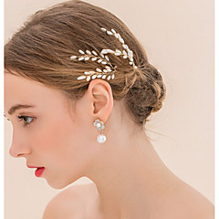 Set of 2 Women's  Gold Hair Stick Pin for Wedding Party Hair Jewelry with Pearl Crytsal