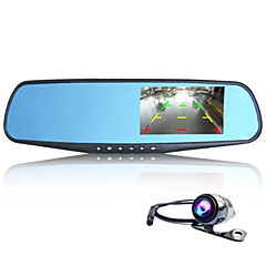 "4.3"" 1080P FHD Rearview Mirror Car DVR Dash Cam Dual Lens Camera Video Recorder"