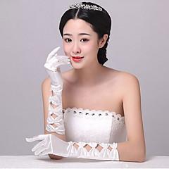 Até o Cotovelo Com Dedos Luva Elastano Luvas de Noiva Luvas de Festa Primavera Verão Outono Inverno Miçangas Pregueados