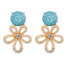 Fashion Simple Small Round Turquoise Flash Diamond Flower Earrings