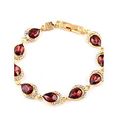 Ruby Crystal Gold Classic Shiny Interlocking Bracelet