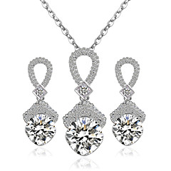 Alloy Bridal Jewelry Sets Silver Necklaces Earrings Wedding Party