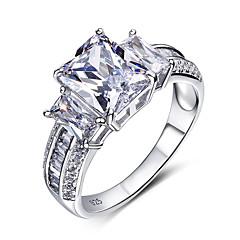 Feminino Anéis Grossos Maxi anel Moda Prata de Lei Zircão Zircônia Cubica Jóias Para Casamento Festa Halloween Noivado Diário Casual