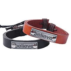Heren Dames Voor Stel Armbanden met ketting en sluiting Bedelarmbanden Lederen armbandenModieus Vintage Punk-stijl Verstelbaar