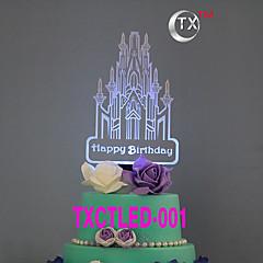 ケーキトッパー 非パーソナライズ エスニック風 アクリル 誕生日 花 ブラック クラシックテーマ 1 ギフトボックス