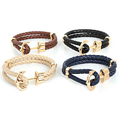 Men's Wrap Bracelet Fashion Plaited Double-layer Leather Gold Plated Alloy Anchor Jewelry For Daily Casual Sports Christmas Gifts 1pc