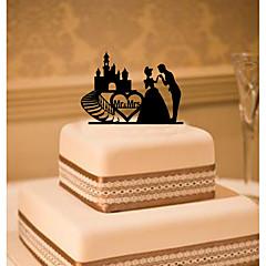 Figurki na tort Non-spersonalizowane Klasyczna para Akrylowy Ślub Kwiaty Czarny Klasyczny styl 1 Pudełko na prezent