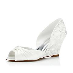 Γυναικεία παπούτσια-Σανδάλια-Γάμος / Φόρεμα / Πάρτι & Βραδινή Έξοδος-Ενιαίο Τακούνι-Ανατομικό-Μετάξι-Ιβουάρ