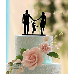 Tortenfiguren & Dekoration Nicht-personalisierte Klassisches Paar Acryl Hochzeit Blumen Schwarz Klassisches Thema 1 Geschenkbox