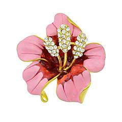 女性のためのファッション美しいエナメルラインストーン大きな花のブローチ