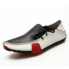 Heren Platte schoenen Zomer Comfortabel / Mocassin / Ronde neus Leer Informeel Platte hak Veters / Overige Zwart / Bruin / Grijs Others