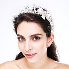Women's Tulle / Imitation Pearl / Acrylic Headpiece-Wedding / Special Occasion Headbands 1 Piece Beige