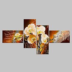 Handgemalte Blumenmuster/Botanisch Ölgemälde,Klassisch / Modern Vier Panele Leinwand Hang-Ölgemälde For Haus Dekoration