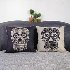 Set Of 2 Black & White Skull  Linen Decorative Throw Pillow Case Cushion Cover