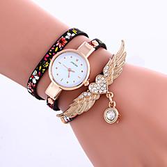 Damen Armband-Uhr Quartz Leder Band Blume Schwarz Blau Grau Grau Schwarz/Rot Blau Schwarz/Silber