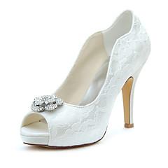Platform-Stiletto Talp-Női cipő-Magassarkúak-Esküvői Ruha Party és Estélyi-Streccs szatén-Elefántcsont