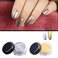 2stk guld sølv krom spejl pulver støv pigment magiske aluminium søm pailletter skinner diy negle dekoration værktøjer