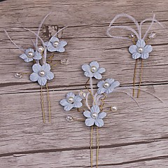 נשים סגסוגת דמוי פנינה כיסוי ראש-חתונה אירוע מיוחד קז'ואל זרי פרחים קליפס לשיער תפסים לשיער סיכת שיער 3 חלקים