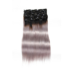 9Pcs/Set Deluxe 120g Clip In Hair Extensions Ombre Black to Grey 16Inch 20Inch 100% Straight Human Hair For Women