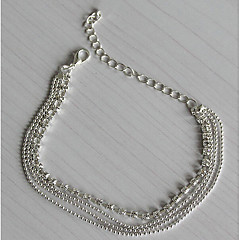 Damskie Łańcuszek na kostkę/Bransoletki Posrebrzany Imitacja diamentu Modny Europejski Wielowarstwowy Biżuteria Na Codzienny Casual