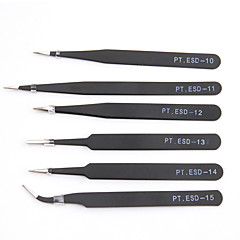 6pcs/set Antistatic Electroplating Nonmagnetic Stainless Steel Curved Straight Eyebrow Tweezers DIY Necessary Tools