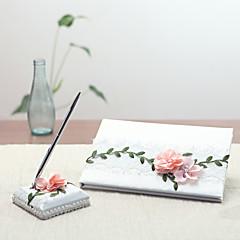 Satén Zahradní motiv Pohádkový motiv Květinový motivWithOkvětní lístky Návštěvní kniha Sada per