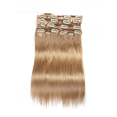 9Pcs/Set Deluxe 120g Clip In Hair Extensions Beige Blonde 16Inch 20Inch 100% Straight Human Hair For Women