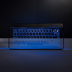 bastron teclado sem fio Bluetooth de vidro transparente com gestos função do rato mousepad