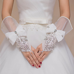 Wrist Length Fingertips Glove Knit Bridal Gloves Spring Summer Fall Winter Bow