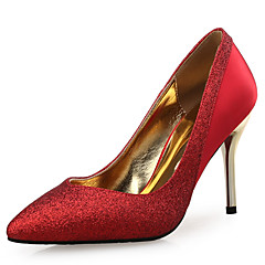 Women's Heels Novelty Silk Glitter Wedding Party & Evening Stiletto Heel Sequin Sparkling Glitter Split Joint Gold Black Sliver Red