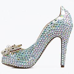 Platform Kényelmes Club cipő Light Up Shoes-Stiletto Talp Kristály sarok-Női cipő-Magassarkúak-Esküvői Party és Estélyi-Bőr-Kék