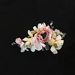 Dame Krystal Imiteret Perle Skum Flannelette Medaljon-Bryllup Speciel Lejlighed Udendørs Hårkamme 1 Stykke