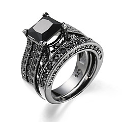 Ring AAA Cubic Zirconia Zircon Cubic Zirconia Alloy Fashion Black Dark Blue Blue Light Blue Jewelry Casual 1set