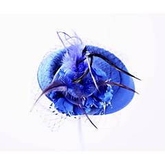 Femme Plume Molleton Filet Casque-Mariage Occasion spéciale Extérieur Chapeau 1 Pièce