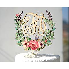 Decorações de Bolo Personalizado Casal Clássico Monograma Papel de Cartão Casamento Aniversário Despedida de Solteira AmareloTema Jardim