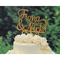 Wood Cake Topper Personalized With Couple's  Names Wedding Cake Topper in Natural Wood Color 6.5 Inches Wide