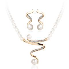 Σετ Κοσμημάτων Κρυστάλλινο κοσμήματα πολυτελείας Μαργαριτάρι Απομίμηση Μαργαριταριού Στρας Προσομειωμένο διαμάντι Κράμα1 Κολιέ 1 Ζευγάρι