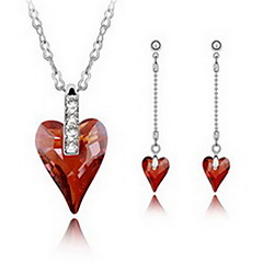 Jewelry 1 Necklace 1 Pair of Earrings Crystal Party Alloy 1set Women Gold Red Purple Wedding Gifts