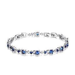 女性 チェーン&リンクブレスレット ジルコン キュービックジルコニア 模造ダイヤモンド ファッション フラワー ゴールド シルバー パープル レッド ブルー ジュエリー 1個