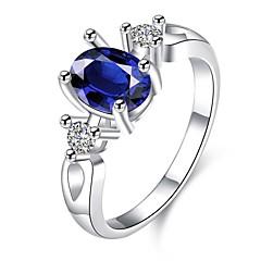 指輪 日常 カジュアル ジュエリー ジルコン 銅 銀メッキ ガラス 指輪 1個,7 8 ブルー