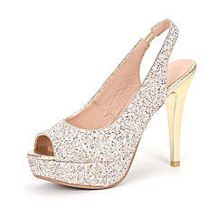 נשים-עקבים-נצנצים חומרים בהתאמה אישית-נעלי ילדת הפרח נעלי מועדוןחתונה שמלה מסיבה וערב-עקב סטילטו
