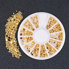 300pcs Gold Silver Half-circle 3D Rhinestone DIY Nail Art Stickers Decorations