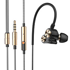 dzat dt-05 dobbelt dynamisk 3,5 mm i øret øretelefon støj sport øretelefon dj hifi bas headset høretelefoner med microfon