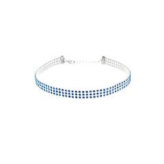 Women Fashion Personality Bule White Color Rhinestone Popular Choker Crystal Short Necklace (1 cm wide) 1pc