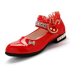 Sandálias-Menina Flor Shoes-Salto Baixo-Preto Rosa Vermelho-Couro Envernizado-Casamento Casual Festas & Noite
