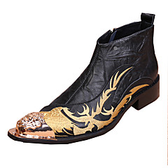 Men's Boots Spring Summer Fall Winter Comfort Novelty Leather Wedding Party & Evening Casual Flat Heel Rivet Split Joint Flower Black
